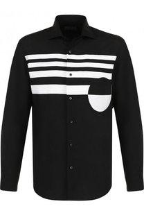 Льняная рубашка с контрастной отделкой Ralph Lauren