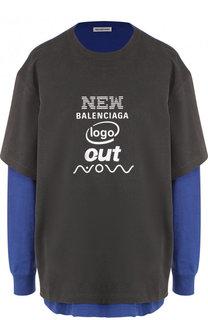 Хлопковая футболка асимметричного кроя с логотипом бренда Balenciaga