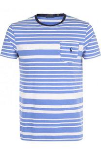 Хлопковая футболка в полоску с логотипом бренда Polo Ralph Lauren