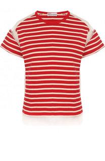 Хлопковая футболка с круглым вырезом в полоску REDVALENTINO