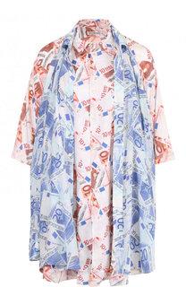 Шелковая блуза свободного кроя с принтом Balenciaga