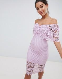 Платье-футляр с открытыми плечами и кружевом Love Triangle - Фиолетовый