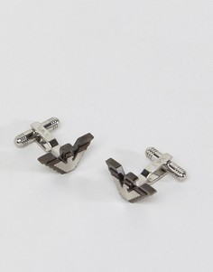 Серебристые запонки с орлом Emporio Armani - Серебряный