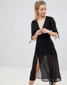Платье миди с сеткой Glamorous - Черный