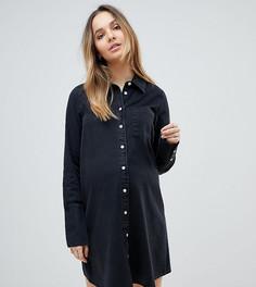 Черное джинсовое платье-рубашка с длинными манжетами ASOS DESIGN Maternity - Черный