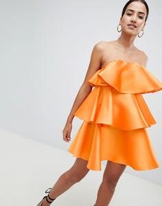 Атласное платье-бандо мини с ярусными оборками ASOS DESIGN - Оранжевый