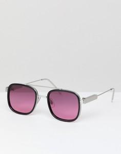 Черные квадратные солнцезащитные очки с розовыми стеклами Spitfire - Черный