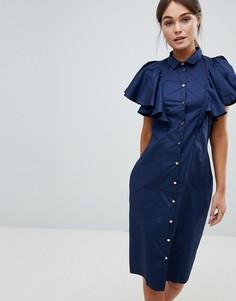 Платье на пуговицах с оборками на рукавах Closet - Темно-синий