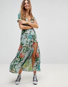 Платье макси с цветочным принтом и запахом Rock & Religion - Зеленый