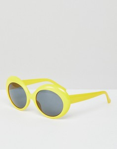 Желтые солнцезащитные очки в стиле ретро Monki - Желтый