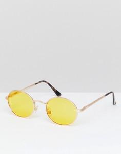Овальные солнцезащитные очки с желтыми стеклами River Island - Желтый