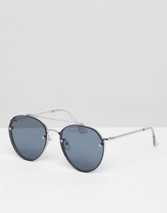 Круглые солнцезащитные очки с черными стеклами омбре 7x - Серебряный