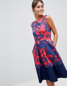 Платье для выпускного с контрастной отделкой на подоле Closet - Мульти