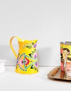 Окрашенная вручную желтая ваза Ian Snow - Мульти
