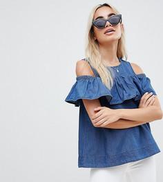 Джинсовый топ с открытыми плечами и оборкой Vero Moda Petite - Синий