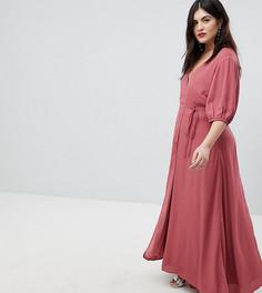 Платье макси с запахом и пышными рукавами Fashion Union Plus - Розовый