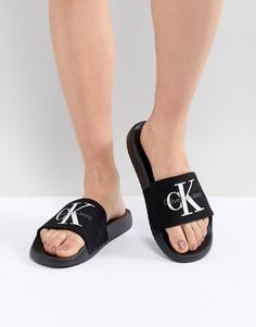 Черные парусиновые шлепанцы Calvin Klein - Черный