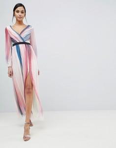 Платье макси в полоску Little Mistress - Мульти