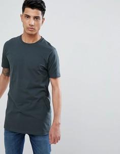 Удлиненная футболка с круглым вырезом ASOS DESIGN - Зеленый
