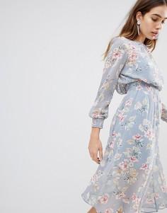 Платье миди с цветочным принтом New Look - Серый
