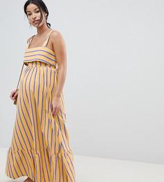 Платье макси в полоску с баской ASOS DESIGN Maternity - Мульти