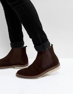 Коричневые замшевые ботинки челси Walk London Darcy - Коричневый