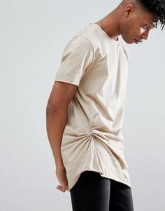 Свободная длинная футболка со сборками сбоку ASOS DESIGN - Бежевый