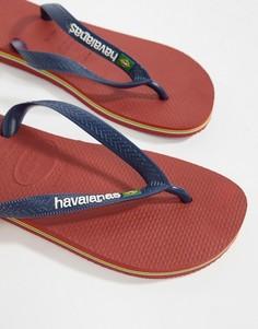Красные шлепанцы с логотипом Havaianas Brasil - Красный