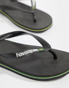 Черные шлепанцы с логотипом Havaianas Brasil - Черный