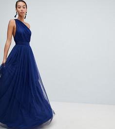 Платье макси из тюля на одно плечо ASOS DESIGN Tall Premium - Темно-синий