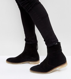 Черные замшевые ботинки челси для широкой стопы с натуральной подошвой ASOS DESIGN - Черный