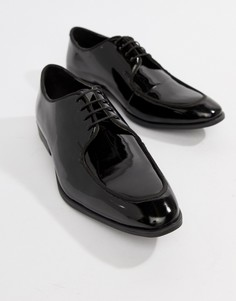 Черные лакированные кожаные туфли на шнуровке ASOS DESIGN - Черный