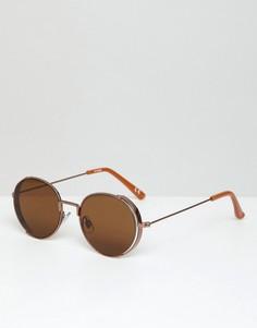 Бронзовые круглые солнцезащитные очки с козырьками по бокам ASOS DESIGN - Медный