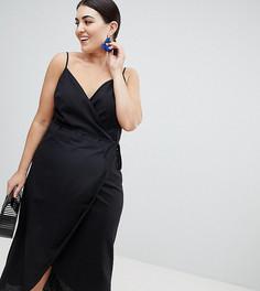 Льняное платье макси с запахом ASOS DESIGN Curve - Черный