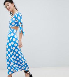 Чайное платье макси в горошек с запахом ASOS DESIGN Petite - Мульти