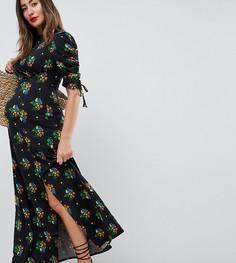 Черное чайное платье макси с цветочным принтом ASOS DESIGN Maternity - Мульти