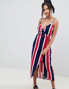 Льняное платье макси в яркую полоску с запахом сбоку ASOS DESIGN - Мульти
