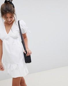 Свободное хлопковое платье мини ASOS DESIGN - Белый