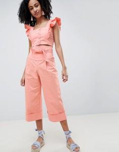 Широкие брюки с присборенной талией Lost Ink - Розовый
