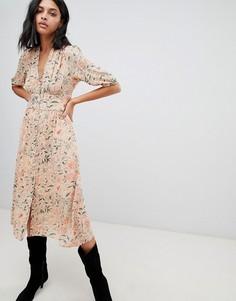 Чайное платье миди с принтом BA&SH - Розовый Ba&Sh