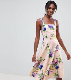 Платье для выпускного с квадратным вырезом и цветочным принтом ASOS DESIGN Tall - Мульти