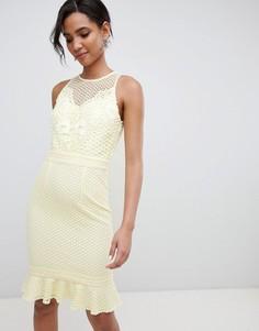 Свободное платье с кружевной аппликацией и баской Little Mistress - Желтый
