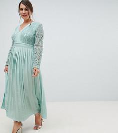 Приталенное платье миди с кружевным верхом и плиссированной юбкой Little Mistress Plus - Зеленый