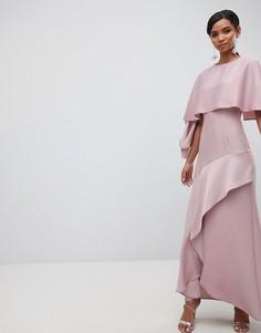 Атласное платье макси с разрезом на юбке ASOS DESIGN - Розовый