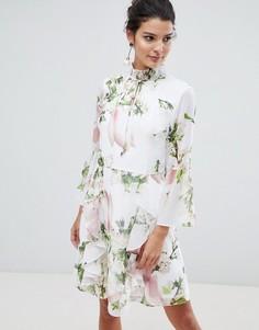 Платье с цветочным принтом и оборками Ted Baker - Мульти
