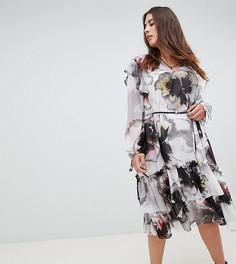 Многослойное платье миди с длинными рукавами и крупным цветочным принтом Religion Plus - Мульти