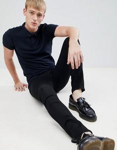 Темно-синяя обтягивающая футболка-поло New Look - Темно-синий