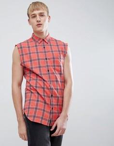Красная рубашка классического кроя без рукавов в клетку New Look - Красный