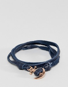 Темно-синий кожаный браслет с якорем Icon Brand - Синий