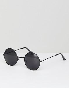 Солнцезащитные очки в круглой оправе с черными стеклами 7x - Черный